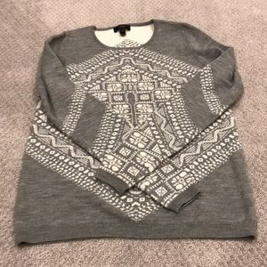 J crew gray and white sweater